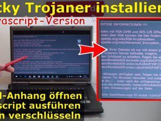 Locky Trojaner installieren - Krypto Virus mit Javascript verschlüsselt Platte