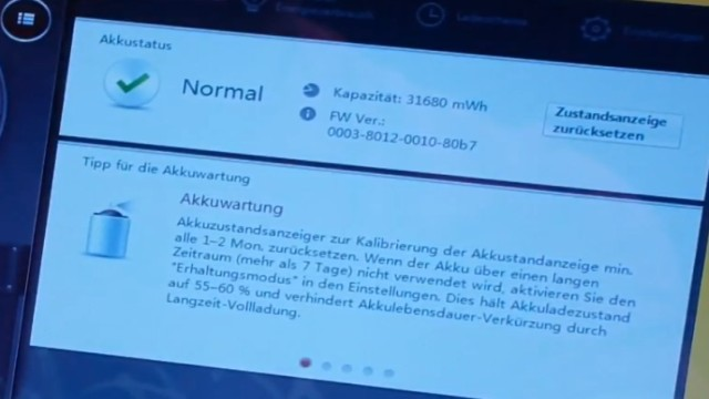 Notebook Akku Problem - lädt nicht 100% - defekt bei neuem Lenovo Notebook - Kapazität wird angezeigt