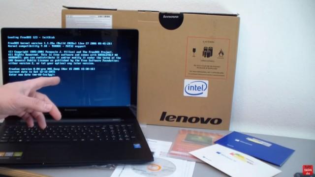 Notebook mit FreeDOS ohne Windows Betriebssystem gekauft - Laptop bootet nicht - Notebook direkt nach dem Einschalten
