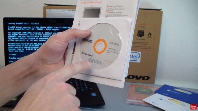Notebook mit FreeDOS ohne Windows Betriebssystem gekauft - Laptop bootet nicht - nur einige DVDs mit Treibern liegen bei