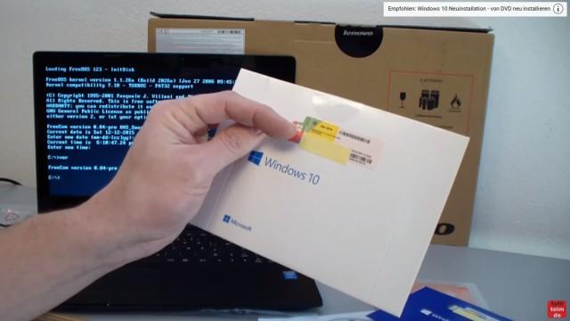 Notebook mit FreeDOS ohne Windows Betriebssystem gekauft - Laptop bootet nicht - Windows 10 kaufen mit Product-Key