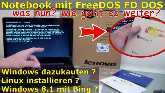 Notebook mit FreeDOS ohne Windows Betriebssystem gekauft - Laptop bootet nicht