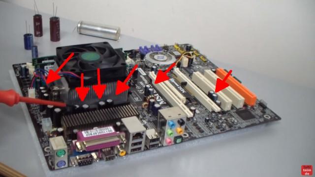 PC Mainboard Reparatur - ohne Funktion / defekt - Kondensator tauschen - Kondensatoren gibt es oft dutzende auf einer Hauptplatine