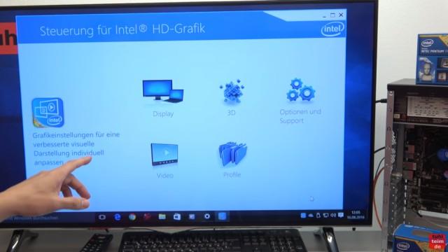 Smart TV 4K UHD an Windows 10 anschließen mit Intel HD Graphics - Auflösung einstellen in der Steuerung für Intel HD-Grafik