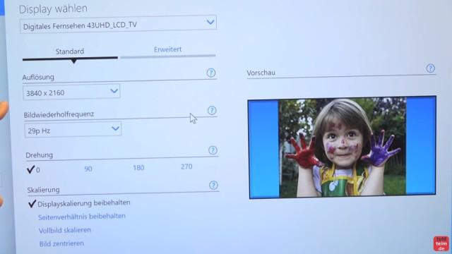 Smart TV 4K UHD an Windows 10 anschließen mit Intel HD Graphics - SmartTV wird erkannt und 3840x2160 Punkte Auflösung eingestellt