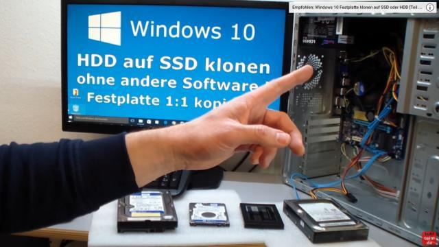 Windows 10 Festplatte klonen auf SSD oder HDD [Teil 1] Zielfestplatte gleich groß oder größer - es gibt ein zweites Video, wenn das Ziellaufwerk kleiner ist