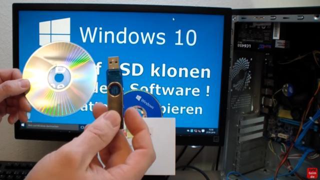 Windows 10 Festplatte klonen auf SSD oder HDD [Teil 1] Zielfestplatte gleich groß oder größer - Ihr braucht noch eine leere CD oder einen leeren USB-Stick