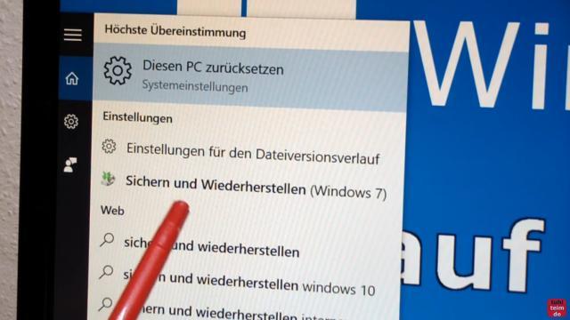 Windows 10 Festplatte klonen auf SSD oder HDD [Teil 1] Zielfestplatte gleich groß oder größer - startet das Windows 10-Programm zum Erstellen eines Systemabbilds