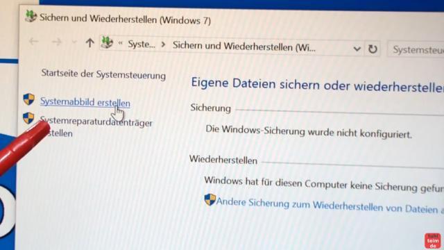 Windows 10 Festplatte klonen auf SSD oder HDD [Teil 1] Zielfestplatte gleich groß oder größer - klickt auf Systemabbild erstellen
