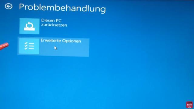 Windows 10 Festplatte klonen auf SSD oder HDD [Teil 1] Zielfestplatte gleich groß oder größer - klickt in der Problembehandlung auf Erweiterte Optionen