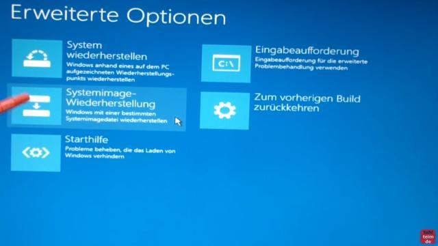 Windows 10 Festplatte klonen auf SSD oder HDD [Teil 1] Zielfestplatte gleich groß oder größer - klickt bei Erweiterte Optionen auf Systemimage-Wiederherstellung