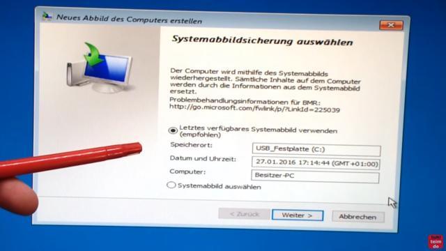 Windows 10 Festplatte klonen auf SSD oder HDD [Teil 1] Zielfestplatte gleich groß oder größer - Windows findet normalerweise das erstelle Image auf der externen USB-Festplatte automatisch