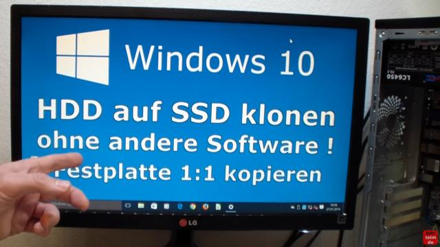 Windows 10 Festplatte klonen auf SSD oder HDD [Teil 1] Zielfestplatte gleich groß oder größer - PC oder Notebook neu starten und das Klonen ist fertig