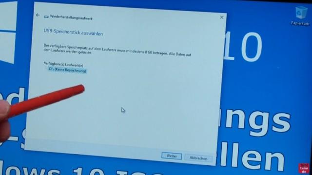 """Windows 10 Recovery USB Stick erstellen zum Reinstallieren - """"Wiederherstellungslaufwerk erstellen"""" - USB-Stick wurde als D: gefunden"""