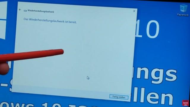 "Windows 10 Recovery USB Stick erstellen zum Reinstallieren - ""Wiederherstellungslaufwerk erstellen"" - USB-Stick ist bereit, also fertig erstellt"