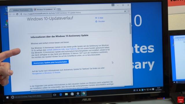 Windows 10 findet keine Updates - 1607 Anniversary Update selbst installieren - Microsoft Upgrade Assistant