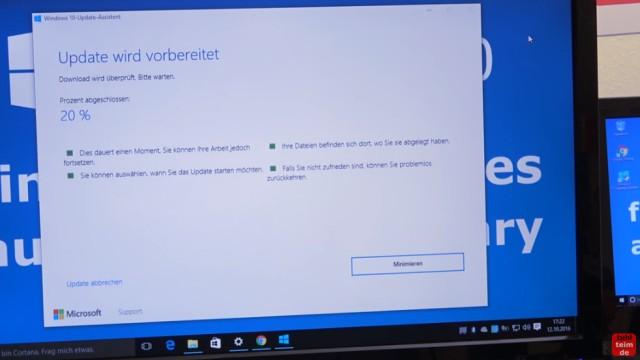 Windows 10 findet keine Updates - 1607 Anniversary Update selbst installieren - Update wird vorbereitet - installiert