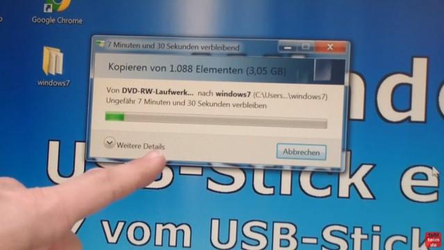 Windows 7 - bootbaren USB-Stick mit Windows 7 DVD oder ISO erstellen und bootfähig machen - DVD in den Ordner kopieren