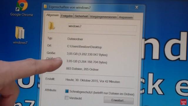 Windows 7 - bootbaren USB-Stick mit Windows 7 DVD oder ISO erstellen und bootfähig machen - Ordner sollte ca. 3GB groß sein