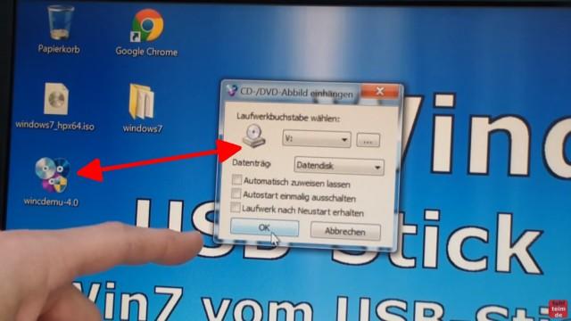 Windows 7 - bootbaren USB-Stick mit Windows 7 DVD oder ISO erstellen und bootfähig machen - die ISO kann in Windows 7 mit WinCDEmu geöffnet werden