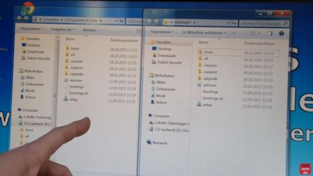 Windows 7 - bootbaren USB-Stick mit Windows 7 DVD oder ISO erstellen und bootfähig machen - ISO und kopierte DVD haben identischen Inhalt
