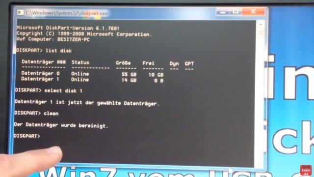 Windows 7 - bootbaren USB-Stick mit Windows 7 DVD oder ISO erstellen und bootfähig machen - mit diskpart.exe den USB-Stick vorbereiten