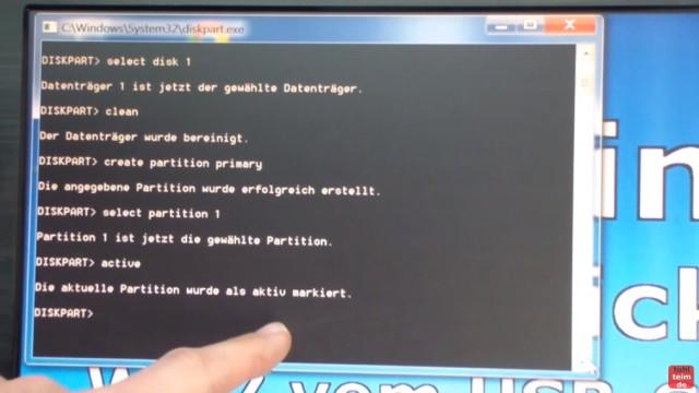 Windows 7 - bootbaren USB-Stick mit Windows 7 DVD oder ISO erstellen und bootfähig machen - der Stick wird gelöscht und eine neue Partition angelegt