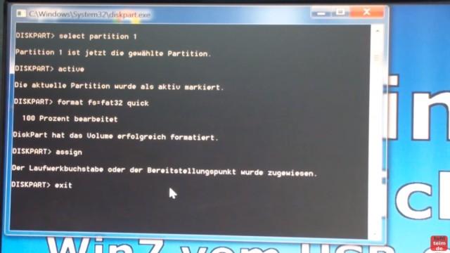 Windows 7 - bootbaren USB-Stick mit Windows 7 DVD oder ISO erstellen und bootfähig machen - die Partition wird formatiert mit FAT32