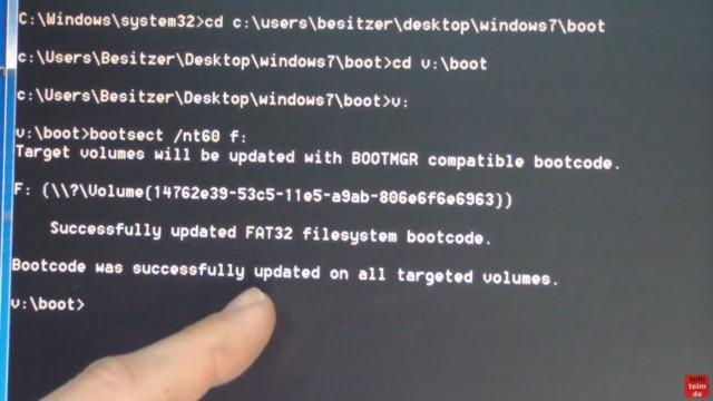 Windows 7 - bootbaren USB-Stick mit Windows 7 DVD oder ISO erstellen und bootfähig machen - mit bootsect.exe wird der Stick bootbar gemacht