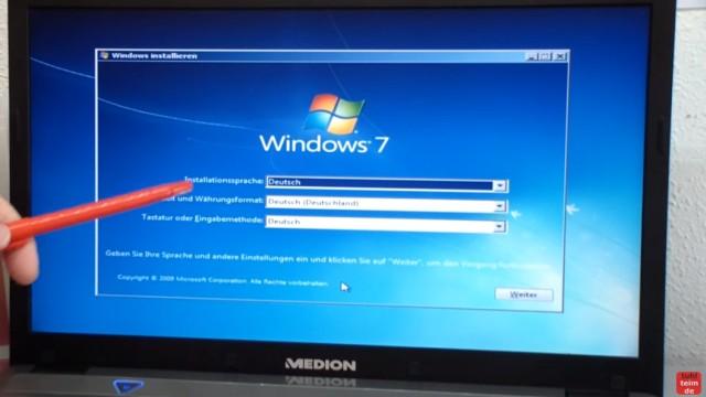 Windows 7 neu installieren von CD oder USB-Stick - Updates und Aktivieren - Clean Install - Windows 7 - Installationssprache und Spracheinstellungen