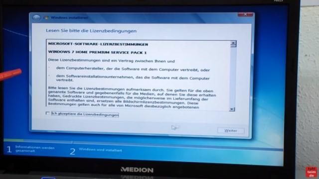 Windows 7 neu installieren von CD oder USB-Stick - Updates und Aktivieren - Clean Install - Windows 7 - Software Lizenzbedingungen akzeptieren