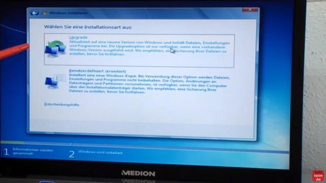 Windows 7 neu installieren von CD oder USB-Stick - Updates und Aktivieren - Clean Install - Installationsart - Upgrade oder Benutzerdefiniert (= Neuinstallation)