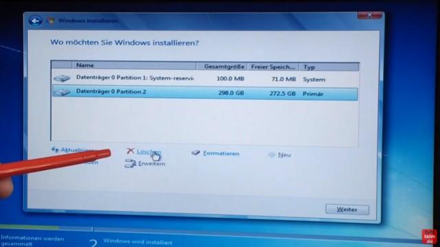 Windows 7 neu installieren von CD oder USB-Stick - Updates und Aktivieren - Clean Install - Wo möchten Sie Windows installieren - HDD/SSD partitionieren