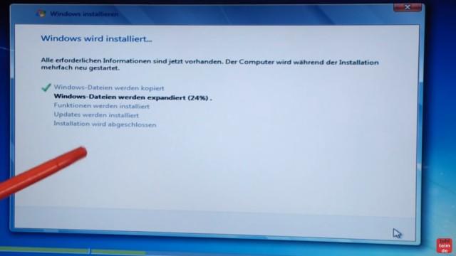 Windows 7 neu installieren von CD oder USB-Stick - Updates und Aktivieren - Clean Install - Windows wird installiert - Installationsfortschritt