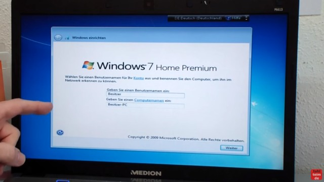 Windows 7 neu installieren von CD oder USB-Stick - Updates und Aktivieren - Clean Install - Benutzernamen und Computernamen eingeben