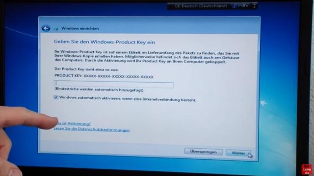 Windows 7 neu installieren von CD oder USB-Stick - Updates und Aktivieren - Clean Install - Product-Key eingeben oder überspringen