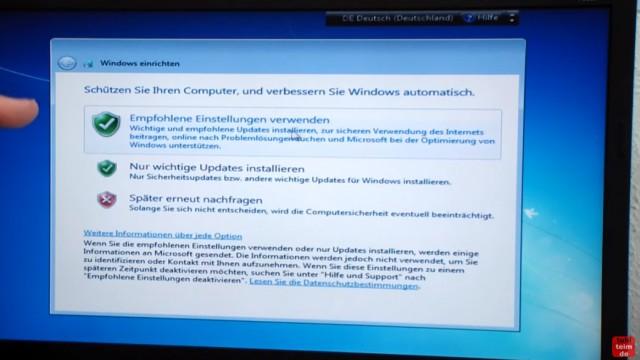Windows 7 neu installieren von CD oder USB-Stick - Updates und Aktivieren - Clean Install - Empfohlene Einstellungen verwenden - nur wichtige Updates installieren