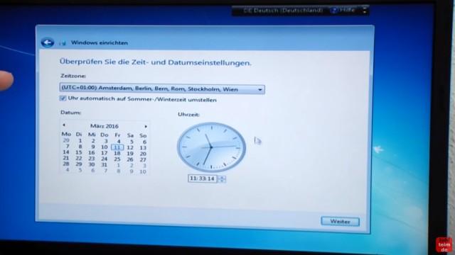 Windows 7 neu installieren von CD oder USB-Stick - Updates und Aktivieren - Clean Install - Zeit und Datumseinstellungen
