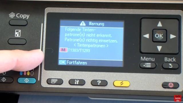 Epson Drucker erkennt Patronen nicht - meldet falsche Tintenpatronen - kompatible Patronen - folgende Patronen nicht erkannt - richtig einsetzen