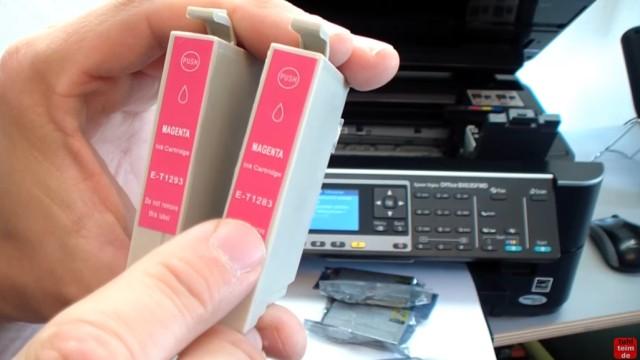 Epson Drucker erkennt Patronen nicht - meldet falsche Tintenpatronen - kompatible Patronen - verschiedene Patronen mit Chip im baugleichen Gehäuse