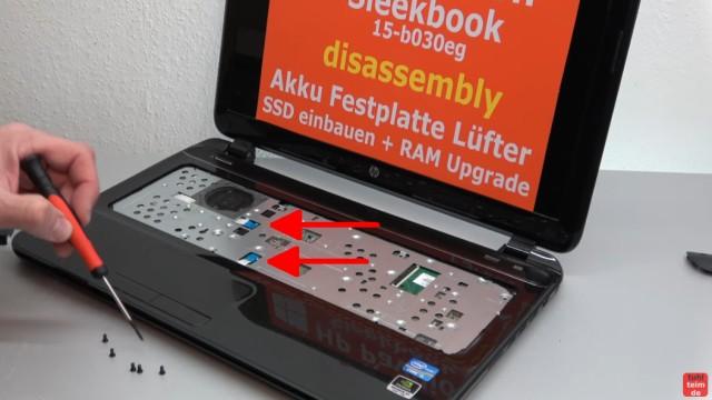 HP Pavilion Sleekbook 15 Notebook öffnen HDD SSD RAM Lüfter CMOS tauschen - unter der Tastatur sind noch fünf Schrauben zu entfernen und die beiden Kabel zu lösen
