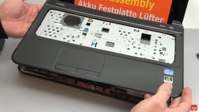 HP Pavilion Sleekbook 15 Notebook öffnen HDD SSD RAM Lüfter CMOS tauschen - die Oberschale kann abgenommen werden
