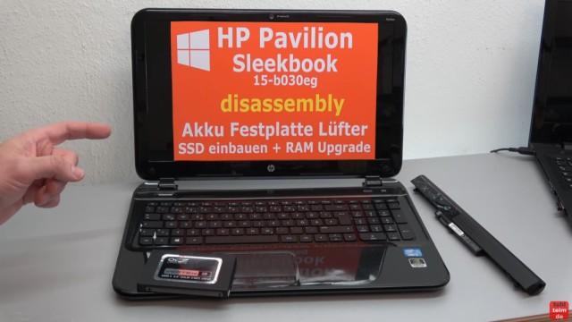 HP Pavilion Sleekbook 15 Notebook öffnen HDD SSD RAM Lüfter CMOS tauschen - mit SSD aufrüsten