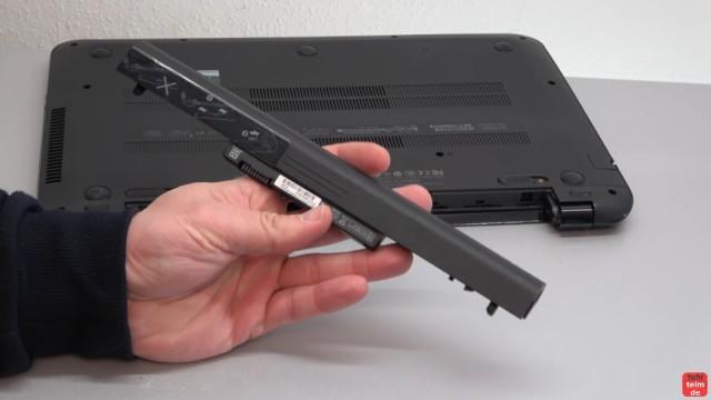 HP Pavilion Sleekbook 15 Notebook öffnen HDD SSD RAM Lüfter CMOS tauschen - der Akku ist leicht zu entnehmen