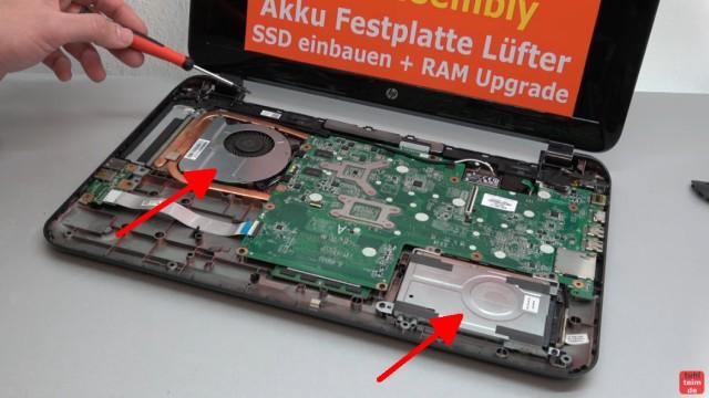 HP Pavilion Sleekbook 15 Notebook öffnen HDD SSD RAM Lüfter CMOS tauschen - Festplatte und Lüfter austauschen / reinigen