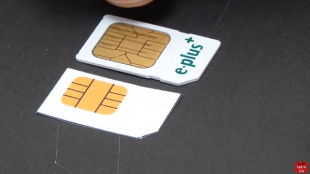 Handy SIM-Karte zu Micro / Nano zuschneiden und Mini-SIM-Adapter selber bauen - es gibt verschieden große Kontaktflächen