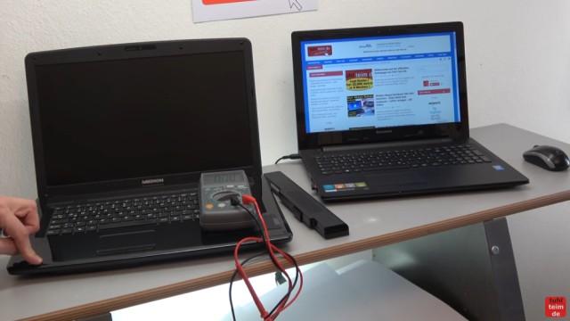 Medion Notebook schaltet sich selbst ein oder gar nicht ein - Netzteil testen - Notebook ist ohne Akku und ohne Netzteil