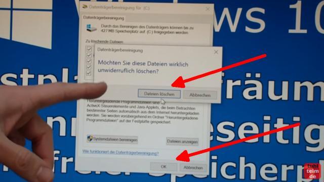 Windows 10 Festplatte aufräumen säubern Datenmüll beseitigen Windows schneller machen - Dateien löschen
