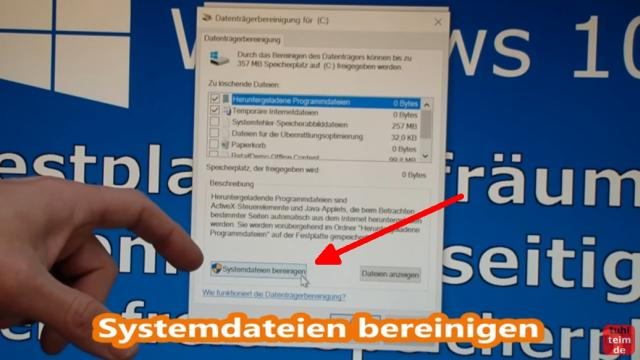 Windows 10 Festplatte aufräumen säubern Datenmüll beseitigen Windows schneller machen - Systemdateien bereinigen