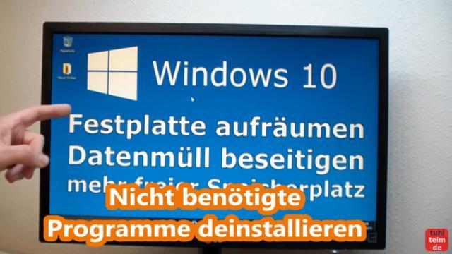 Windows 10 Festplatte aufräumen säubern Datenmüll beseitigen Windows schneller machen - nicht mehr benötigte Programme deinstallieren